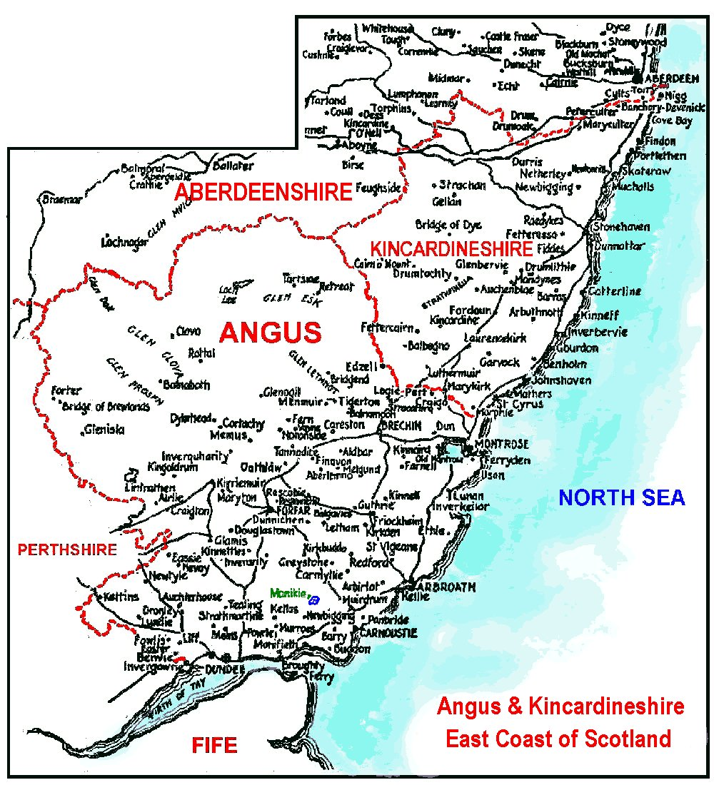 How to find Monikie, Angus, Scotland - A page of maps